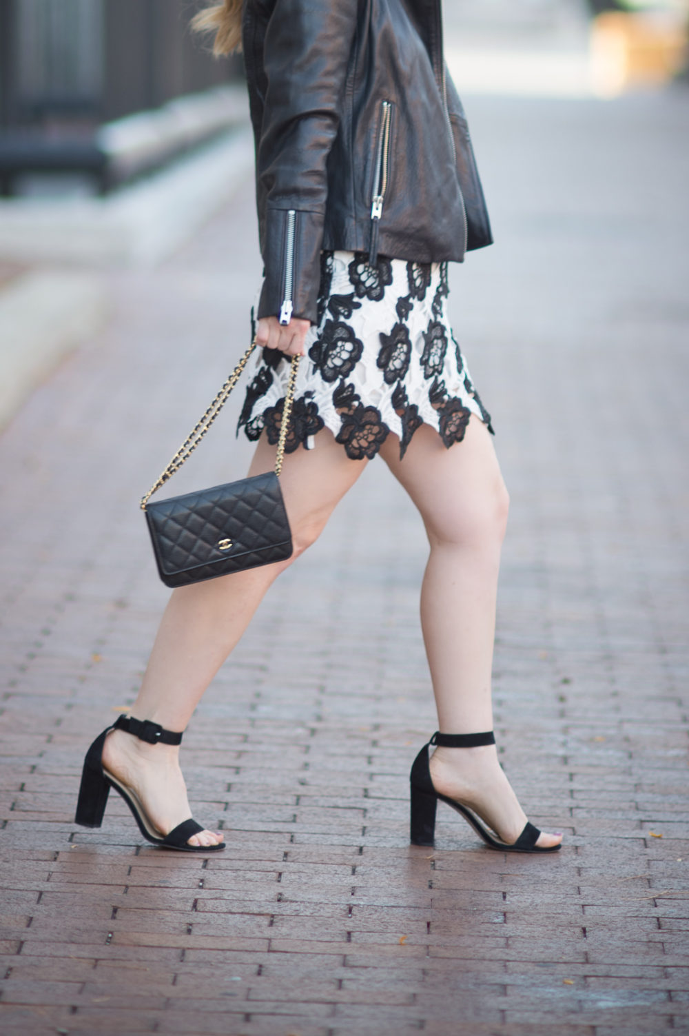 Petite Fashion and Style Blog   Chicwish Timeless Delicacy Crochet Dress   Topshop Leather Biker Jacket   Ann Taylor Leda Block Heel   Click to Read More... - Leather Moto Jacket styled by popular Michigan petite fashion blogger The Blue Hydrangeas