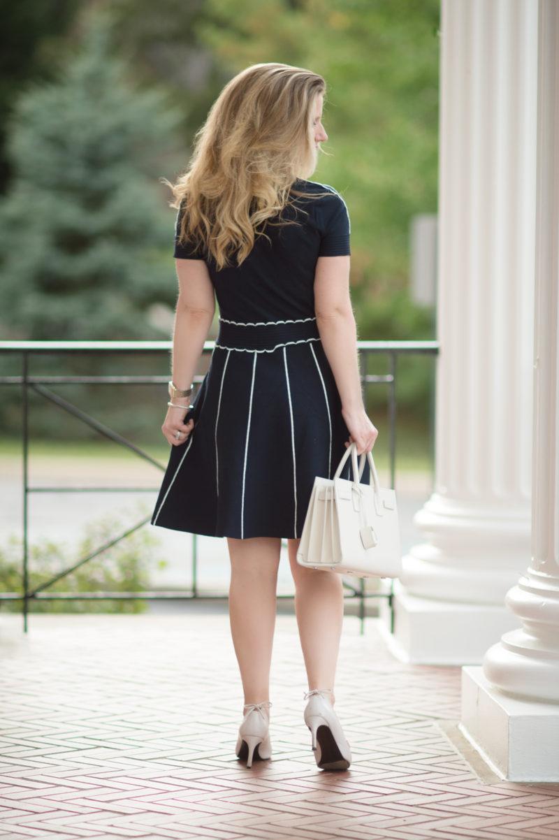 Petite Fashion and Style Blog | Draper James Scallop Sweater Dress | YSL Baby Sac du Jour | Stuart Weitzman Peekamid Pumps | Click to Read More...