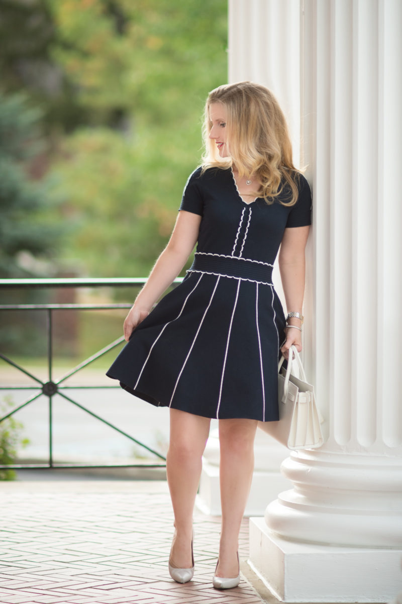 Petite Fashion and Style Blog | Draper James Scallop Sweater Dress | YSL Baby Sac du Jour | Stuart Weitzman Peekamid Pumps | Click to Read More...