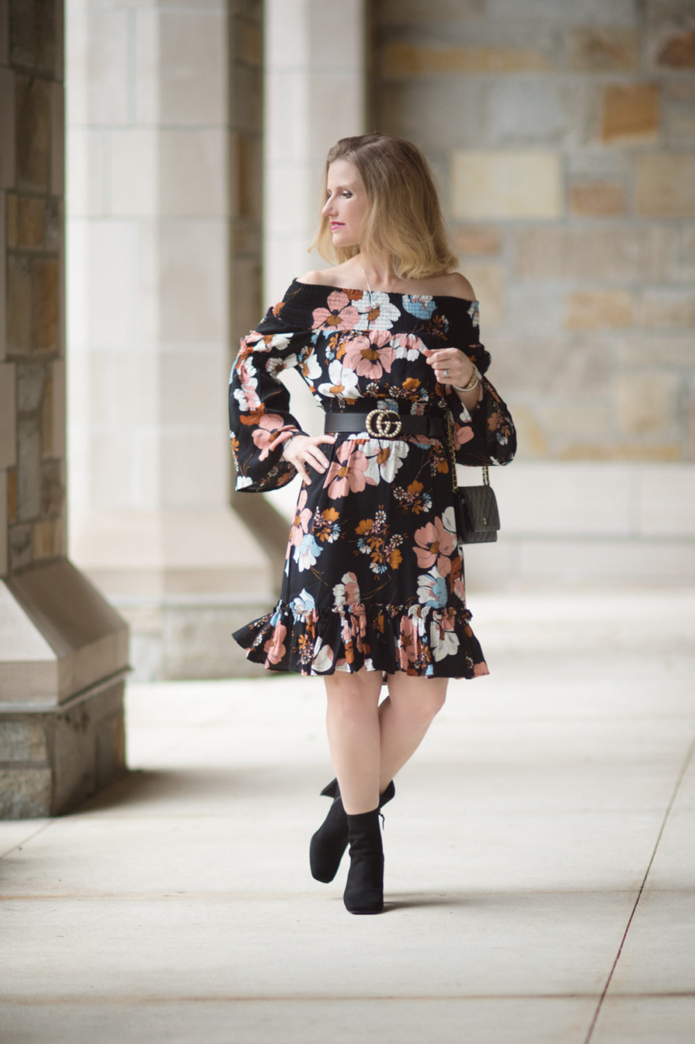 Petite Fashion and Style Blog | Ella Moon Eleni Off the Shoulder Wide Smocked Ruffle Hem Dress | Gucci Belt with Pearl Double G | Stuart Weitzman Vigor Booties | Click to Read More... - The Best of Amazon Fall Fashion by popular Michigan petite fashion blogger The Blue Hydrangeas
