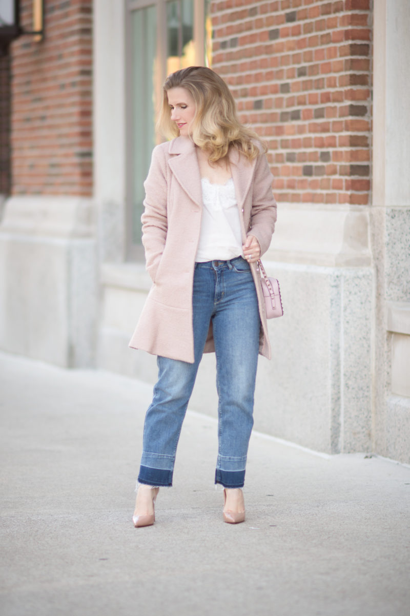 Petite Fashion and Style Blog | Kensie Notch Lapel Peplum Coat | Abercrombie Lace Trim Cami | Marks and Spencer Drop Hem Mid Rise Ankle Jeans | Christian Louboutin So Kate Pumps | Valentino Rockstud Crossbody Bag | Click to Read More...