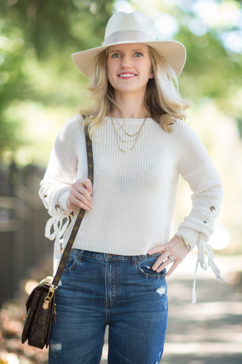 Petite Fashion and Style Blog | Madison & Berkley Laced Sleeve Sweater | Express High Waisted Straight Ankle Jeans | Steve Madden Stecy Heels | Louis Vuitton Pochette Mettis Bag | Click to Read More...