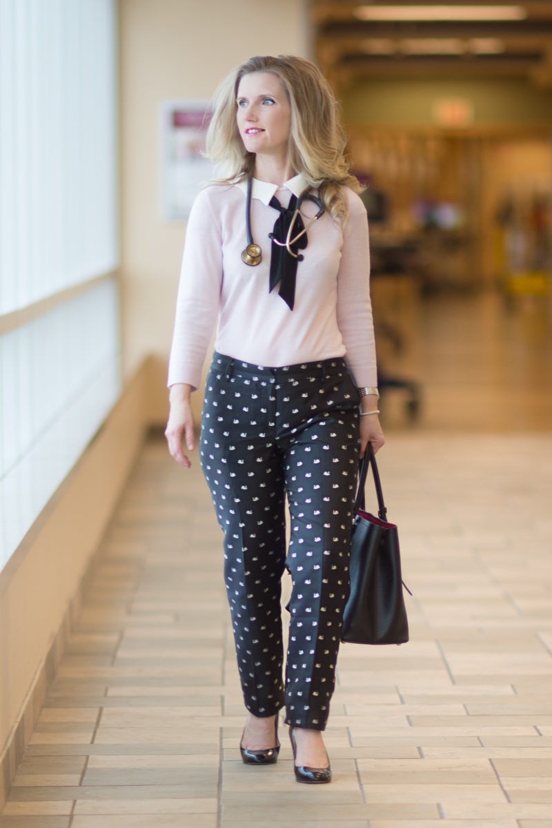 Petite Fashion and Style Blog | Talbots Hampshire Ankle Fancy Swan Print | Talbots Scallop Collar and Bow Sweater | Talbots Because I'm A Lady | Click to Read More...