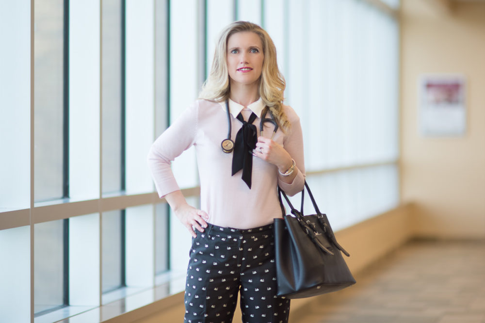 Petite Fashion and Style Blog | Talbots Hampshire Ankle Fancy Swan Print | Talbots Scallop Collar and Bow Sweater | Talbots Because I'm A Lady | Click to Read More... - Because Im A Lady... by popular Michigan petite fashion blogger The Blue Hydrangeas