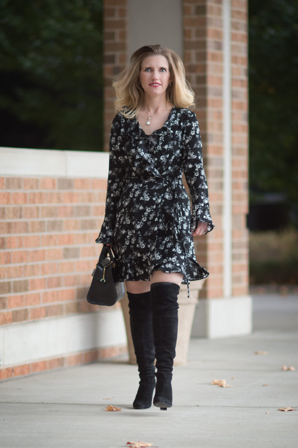 Petite Fashion and Style Blog | Dr. Scholls Custom Fit Orthotics | Wayf Maddi Wrap Mini Dress | Stuart Weitzman Highland Boots | Click to Read More...