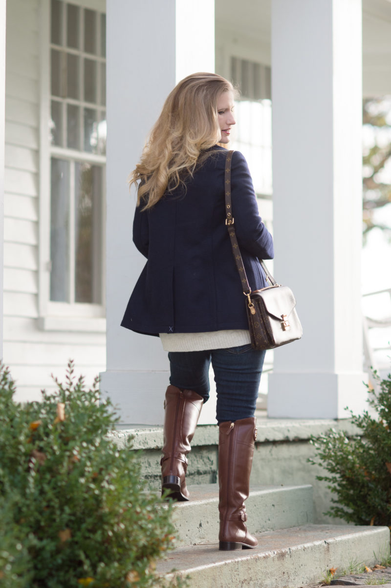 Petite Fashion and Style Blog | J.Crew Andover Peacoat | J.Crew Perfect Shirt in Navy Plaid | Tory Burch Riding Boots | Louis Vuitton Pochette Metis | Click to Read More...