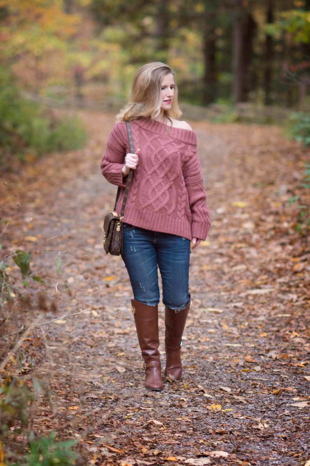 Petite Fashion and Style Blog | J.O.A. Off the Shoulder Cable Sweater | Tory Burch Riding Boots | Louis Vuitton Pochette Metis Bag | Click to Read More...