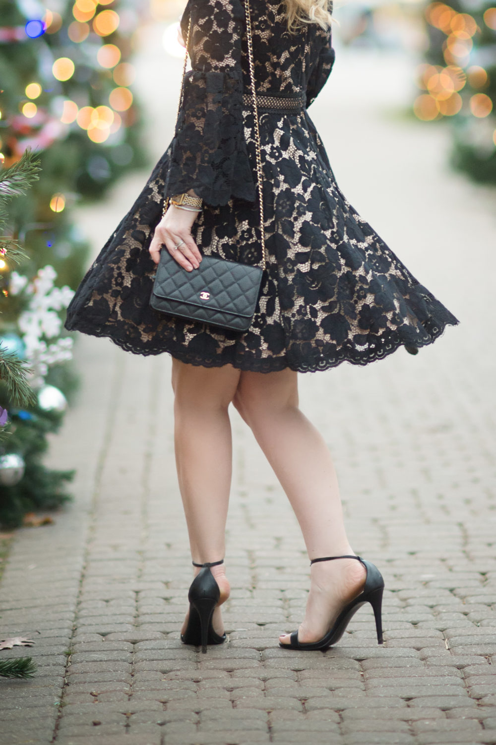 Petite Fashion and Style Blog | Vince Camuto Bell Sleeve Lace Dress | Steve Madden Stecy Sandals | Nautical 3-pc. boys suit | Click to Read More....
