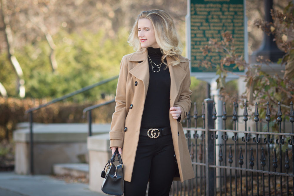 Petite Fashion and Style Blog | Anne Klein Women's Double Breasted Coat | Banana Republic Sloan Pants | Gucci Leather Belt with Pearl Double G