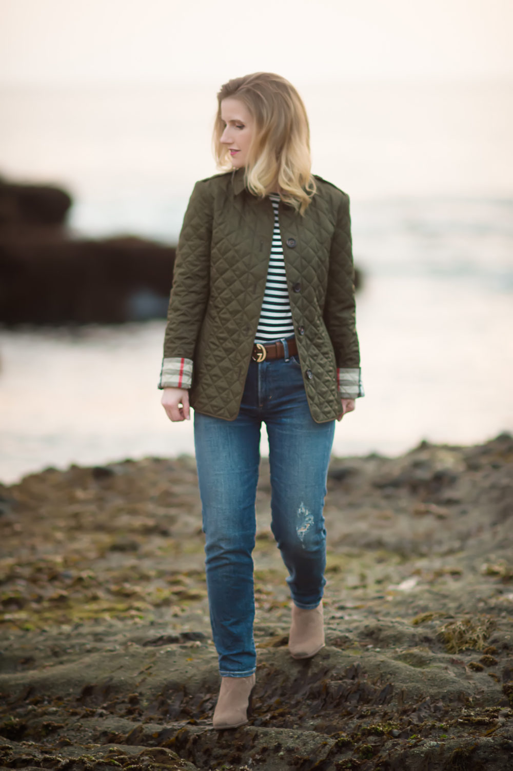 Petite Fashion and Style Blog | Burberry Diamond Quilted Jacket | Gucci Double G Belt | Vince Camuto Franell Notched Bootie | Click to Read More...
