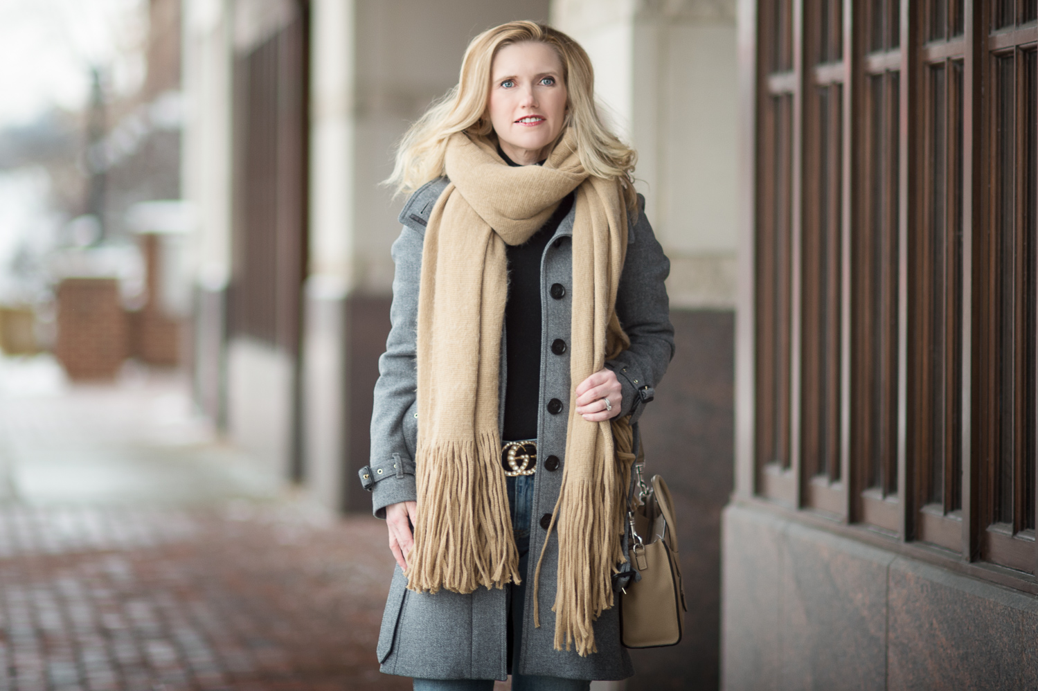 how to wear a scarf with a dress coat