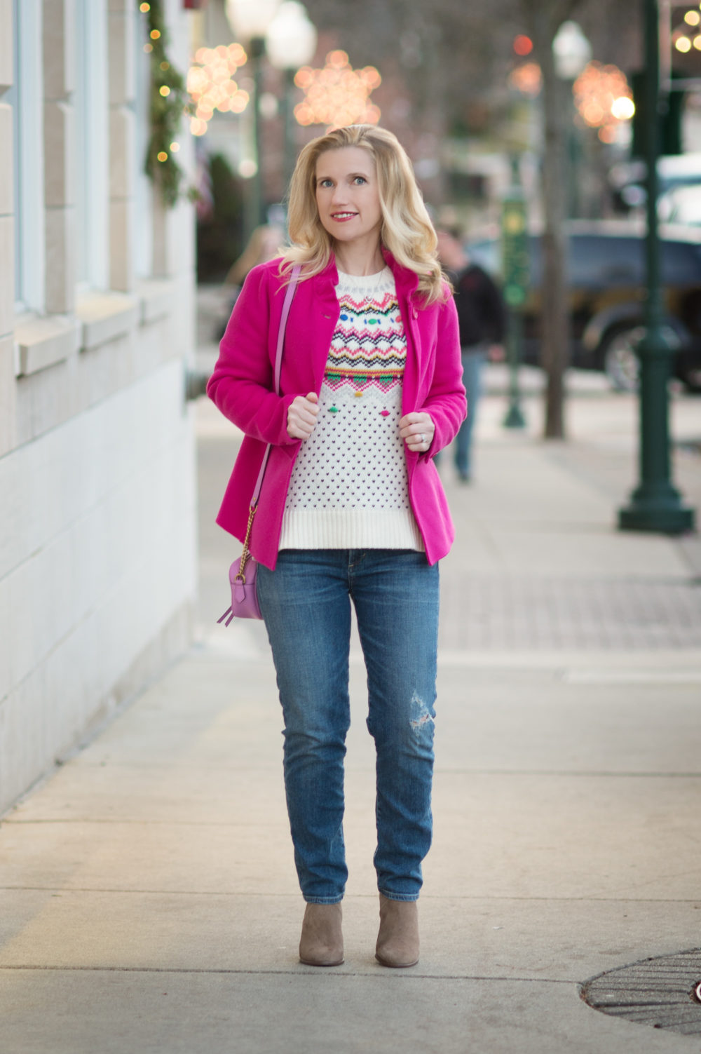 Petite Fashion and Style Blog | Talbots Carnival Fair Isle Sweater | Talbots Ruffle Neck Double Face Jacket | Talbots Pom Pom Hat | Vince Camuto Franell Bootie
