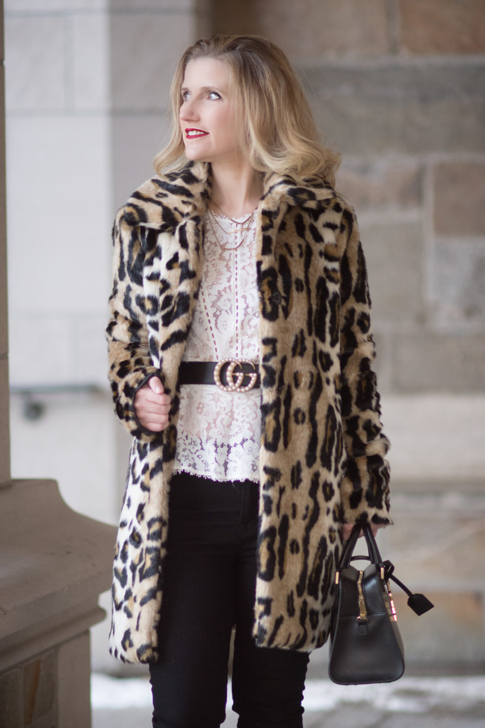 Petite Fashion Blog | Fashion for Petite Women | Kensie Leopard Coat | Gucci Double G Pearl Belt | Rebecca Taylor Lace Peplum Top | Christian Louboutin Red Heels