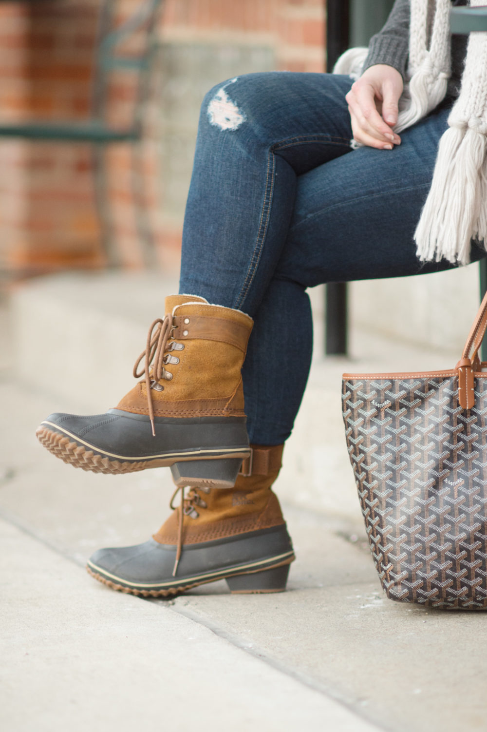 Petite Fashion and Style Blog | Fashion for Petite Women | Lark and Ro Cashmere Sweater | Sorel Winter Fancy Lace II Boot | Goyard Tote | Click to Read More...