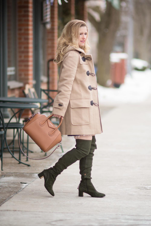 Fashion for Petite Women | Madewell Fair Isle Sweater | Burberry Duffle Coat | Tory Burch Laila Suede OTK Boots | Givenchy Antigona Bag | Click to Read More...