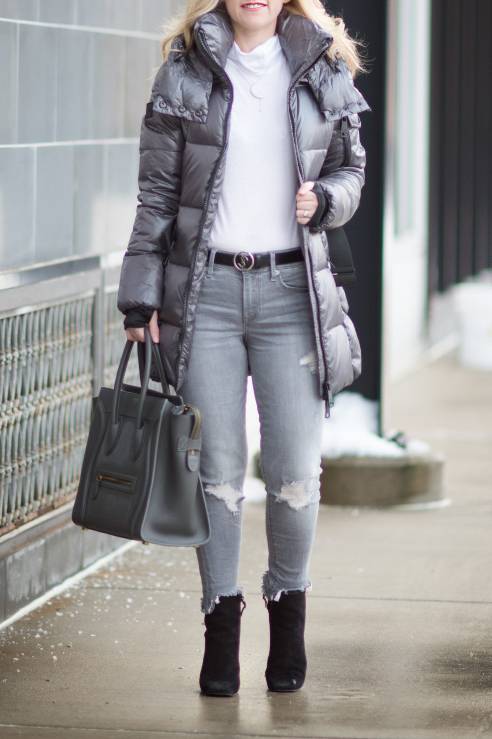Fashion for Petite Women | SAM New Soho Down Coat | Express Gray Mid Rise Destroyed Ankle Jeans | Celine Luggage Tote | Click to Read More...