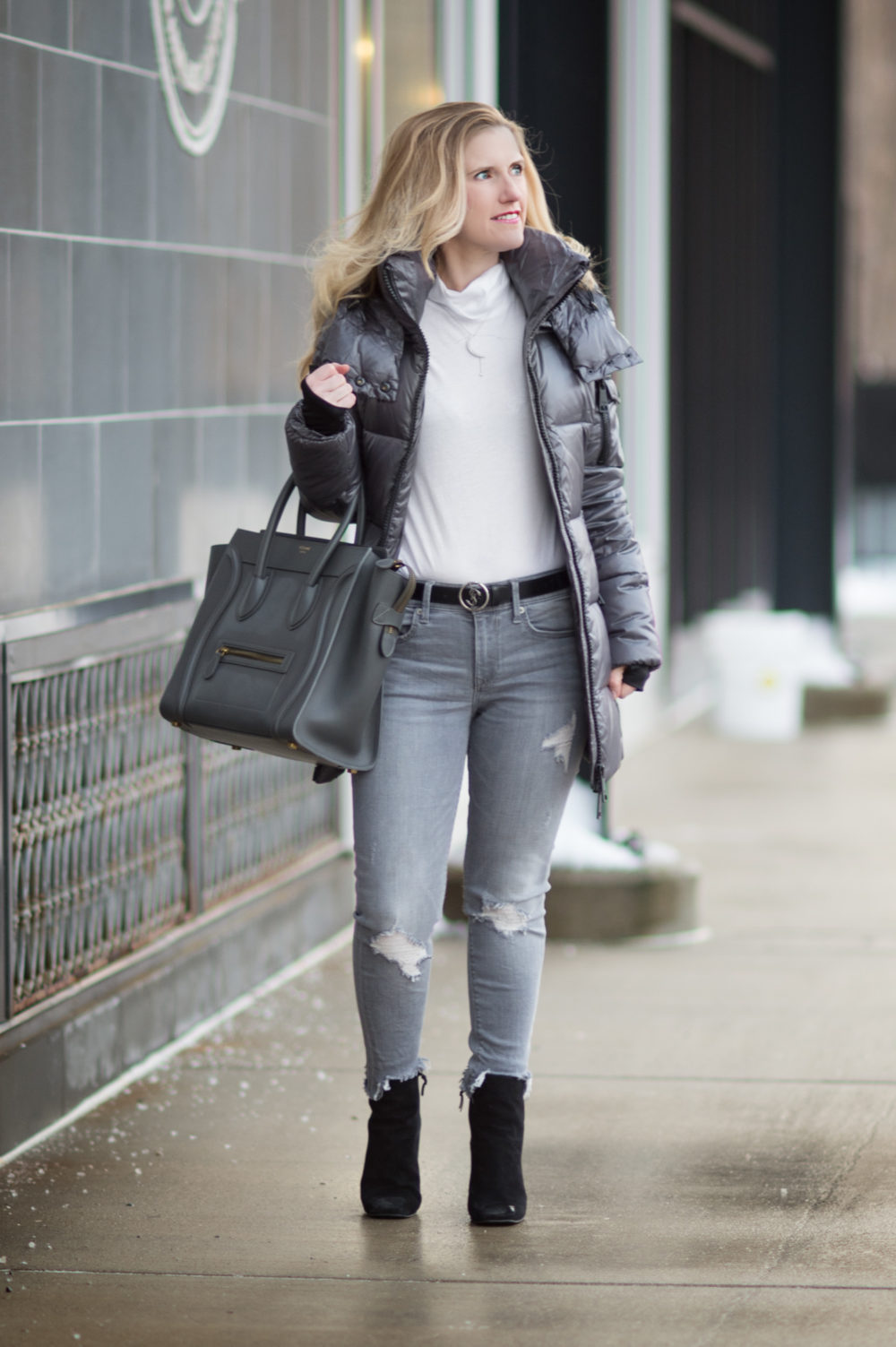 ashion for Petite Women | SAM New Soho Down Coat | Express Gray Mid Rise Destroyed Ankle Jeans | Celine Luggage Tote | Click to Read More...