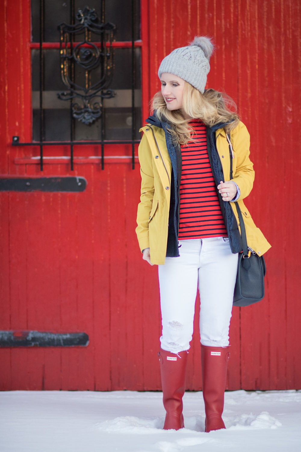 Michigan Petite Fashion and Style Blog | Fashion for Petite Women | Barbour Hooded Jacket | J. Brand Cropped Skinny Jeans | Gigi New York Amelie Crossbody | Hunter Tall Boots | The Blue Hydrangeas Click to Read More...