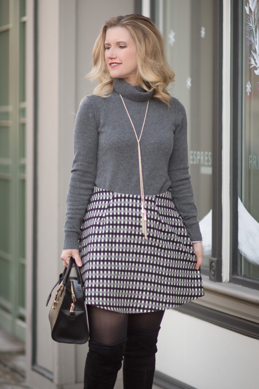 Petite Fashion and Style Blog | Fashion for Petite Women | Bloomingdale's Aqua Cashmere Turtleneck | Asos Petite Mini Flippy Skirt in Check | How To Wear Dresses in the Winter and Stay Warm