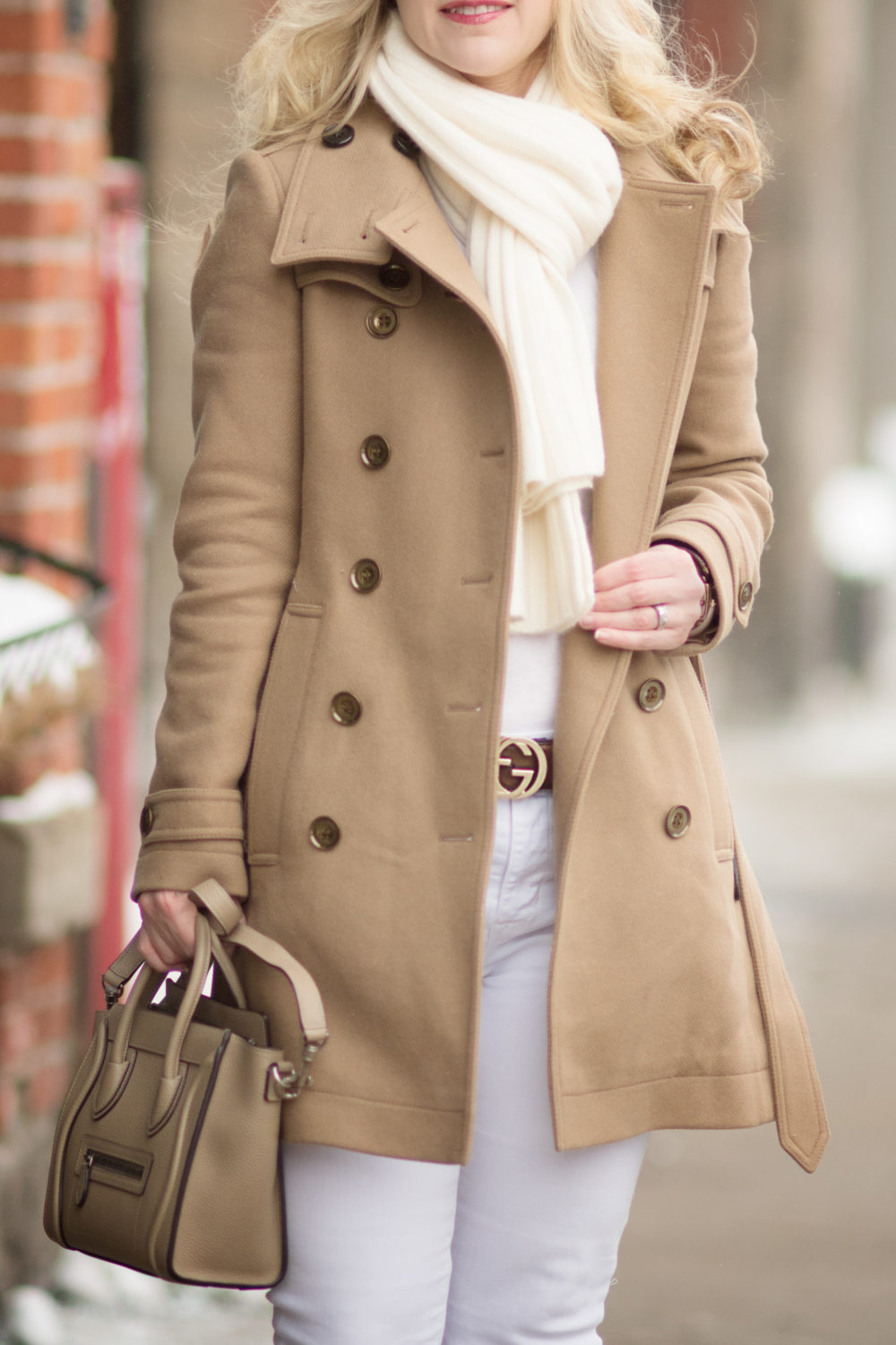 Petite Fashion and Style Blog | Fashion for Petite Women | Burberry Wool Blend Coat | C by Bloomingdales Ribbed Cashmere Scarf | Christian Louboutin So Kate Heels | Celine Nano Tote | Why you Need a Camel Coat