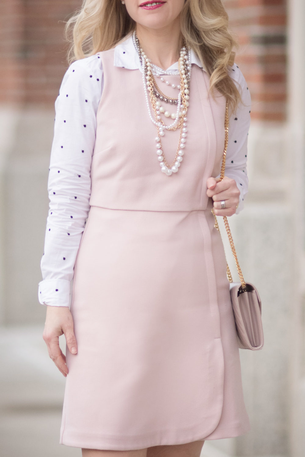 Petite Fashion and Style Blog | Fashion for Petite Women | Pink Sheath Dress | Polka Dot Blouse | YSL Wallet on Chain | How to Wear a dress in the Winter