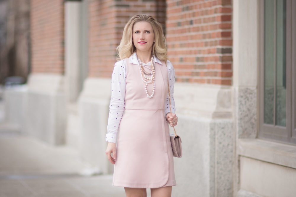 Petite Fashion and Style Blog | Fashion for Petite Women | Pink Sheath Dress | Polka Dot Blouse | YSL Wallet on Chain | How to Wear a Dress in the Winter |