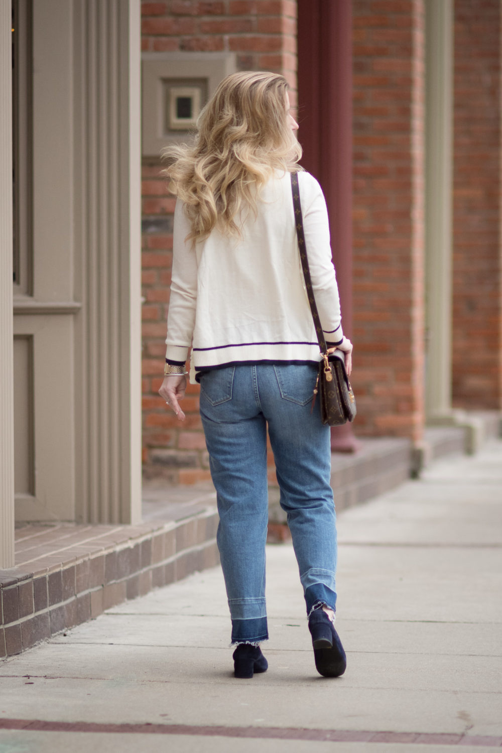 Petite Fashion and Style Blog | Fashion for Petite Women | Talbots Ruffle Front Cardigan Sweater | Gucci Double G Belt | Everlane The Day Heel | Click to Read More...