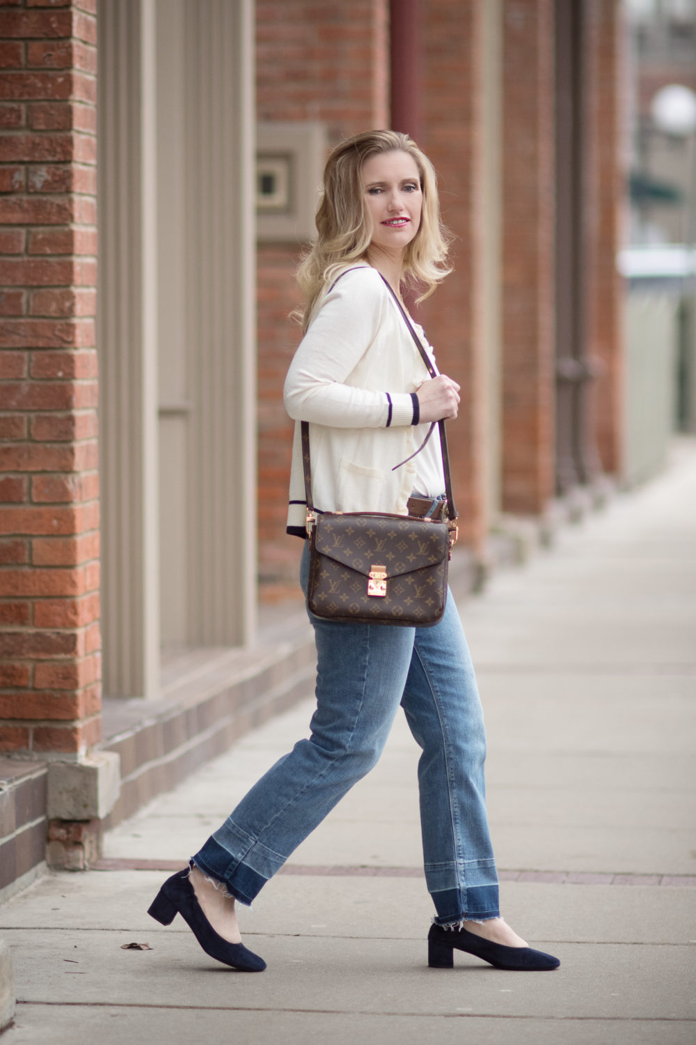 Petite Fashion and Style Blog | Fashion for Petite Women | Talbots Ruffle Front Cardigan Sweater | Gucci Double G Belt | Everlane The Day Heel | Click to Read More... - Talbots New Arrivals styled by popular Michigan petite fashion blogger The Blue Hydrangeas