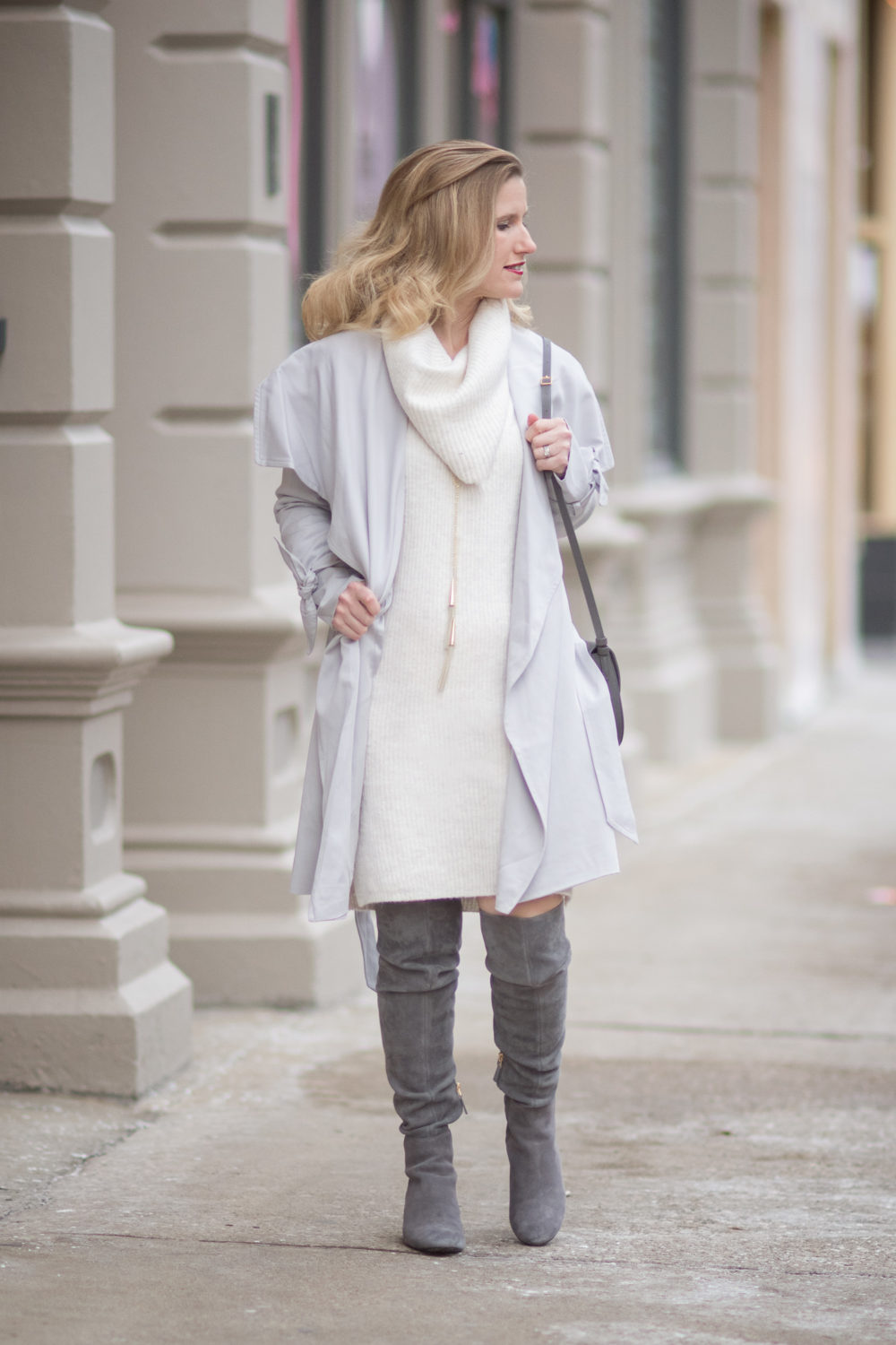 Petite Fashion and Style Blog | Fashion For Petite Women | Club Monaco Ellyn Trench | Miss Selfridge Cowl Neck Jumper | Tory Burch Laila OTK Boots | Lightweight spring jackets