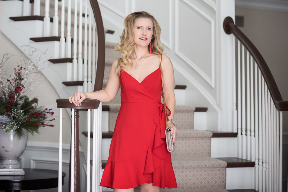 Petite Fashion and Style Blog | Fashion for Petite Women | Likely Centinela Ruffled Crossover Dress | YSL Wallet on Chain | Christian Louboutin So Kate Heels | Valentine Dress Ideas