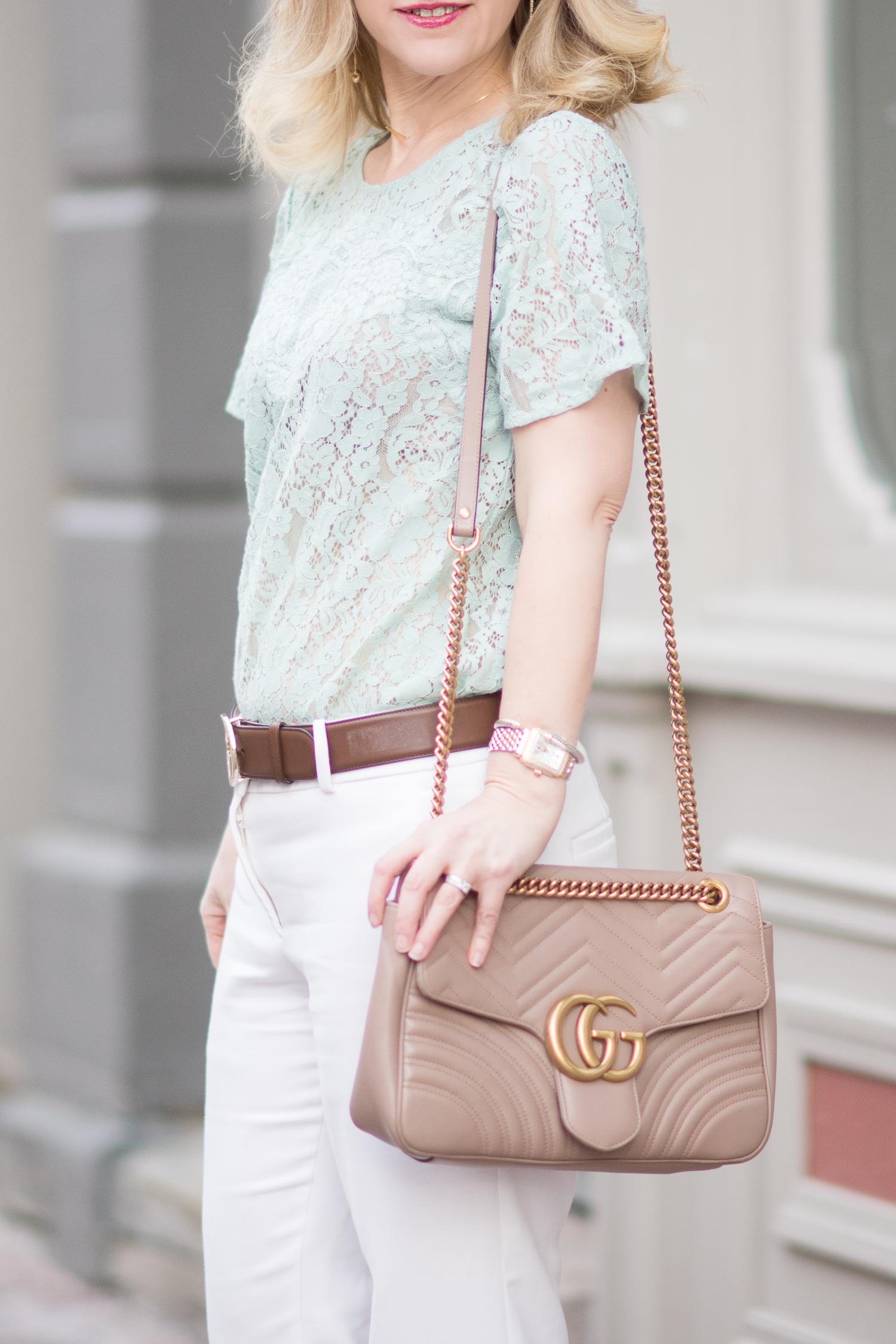 0dcf43672cdc80 Petite Fashion and Style Blog | Loft Mixed Floral Lace Top | Gucci GG  Marmont matelassé shoulder bag -2