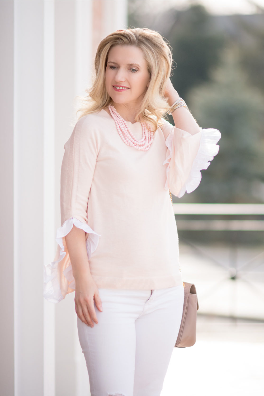 Michigan Petite Fashion and Lifestyle Blog | Chelsea28 Ruffle Sleeve Sweater | J. Brand Cropped Skinny Jeans | Aveda Invati System