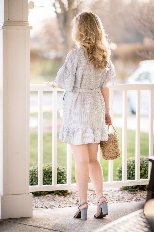 Michigan Petite Fashion and Lifestyle Blog | Storee Stripe Ruffle Wrap Dress | Straw Bucket Bag