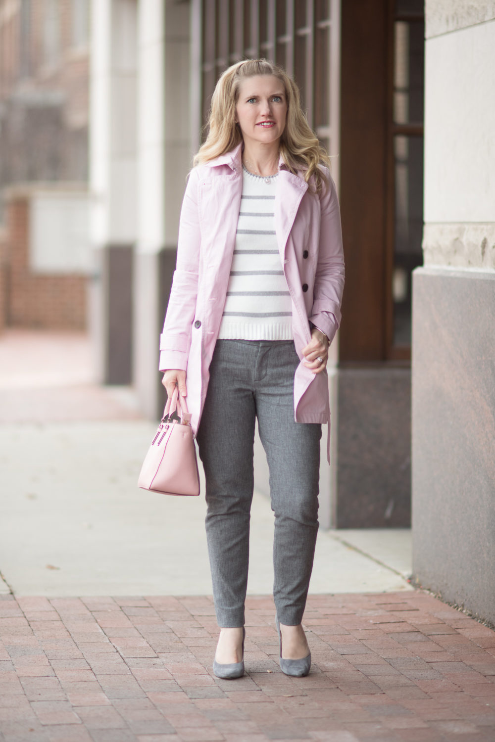Petite Fashion and Style Blog | Banana Republic Trench | Banana Republic Sloan Pants | Cupcakes and Cashmere Bryant Sweater | Tory Burch Robinson Tote