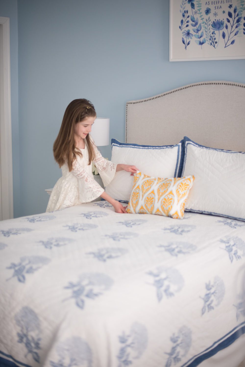 Petite Fashion and Style Blog | Serena and Lily Bedding | Serena and Lily Tropez Quilt