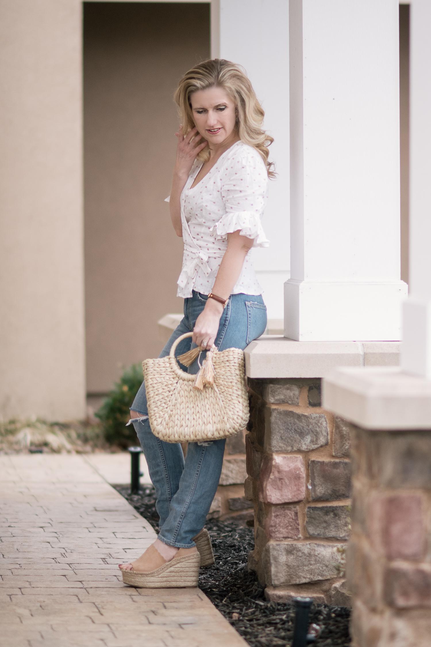 Michigan Petite Fashion And Lifestyle Blog Wayf Kaitlyn Wrap Top 2 The Blue Hydrangeas A