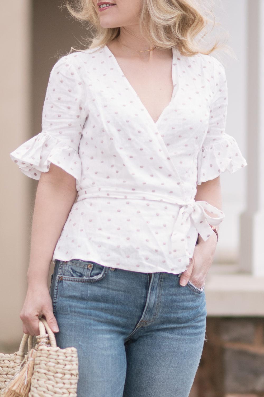 Michigan Petite Fashion And Lifestyle Blog Wayf Kaitlyn Wrap Top 6 The Blue Hydrangeas A