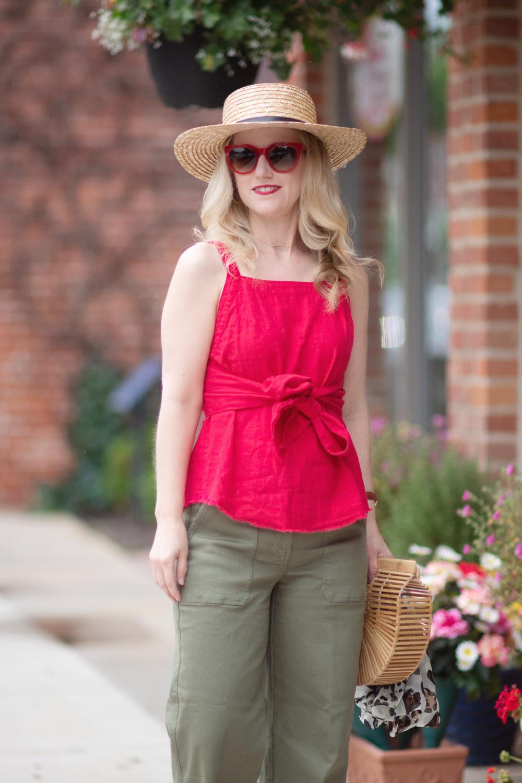 Michigan Petite Fashion and Lifestyle Blog | Everlane Wide Leg Crop Pants | BP Tie Front Linen Blend Tank Top | Cult Gaia Gaia's Ark Bag
