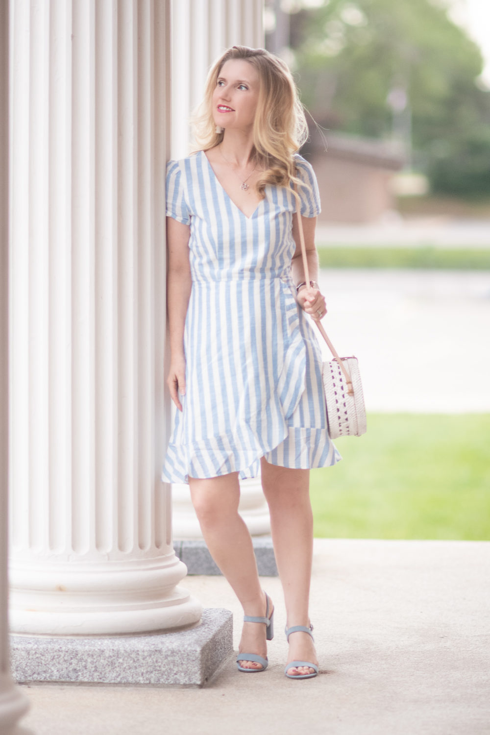 Michigan Petite Fashion and Lifestyle Blog | J. Crew Factory Striped Faux Wrap Dress