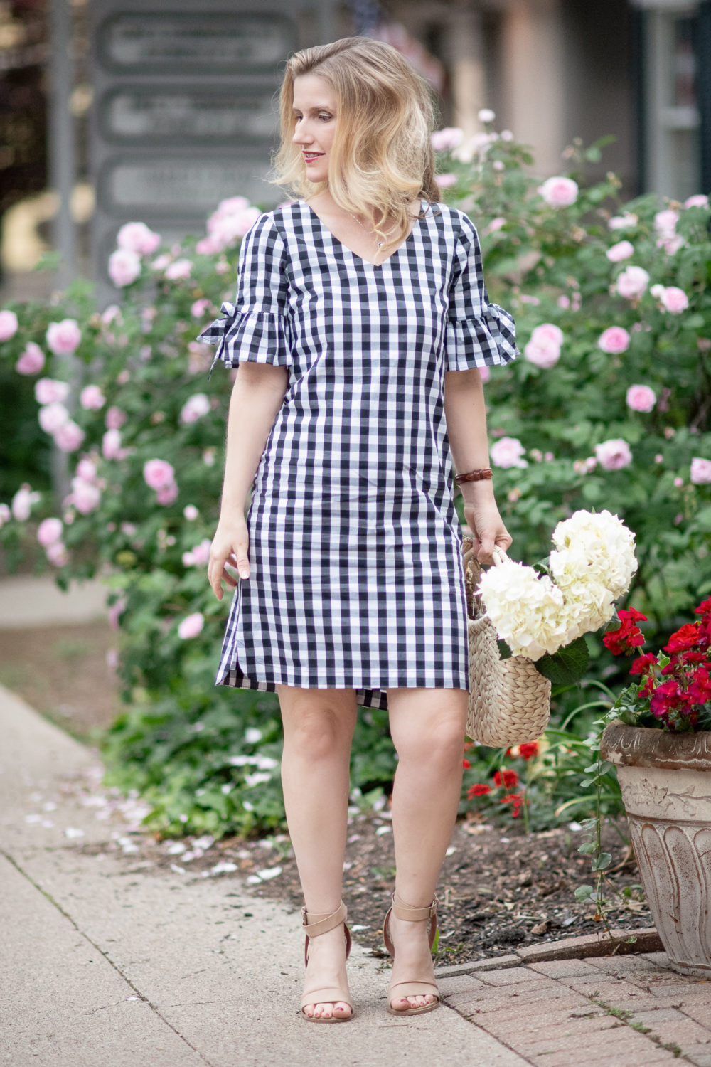 Petite Fashion Blog | J. Crew Factory Tie Seeve Dress in Gingham