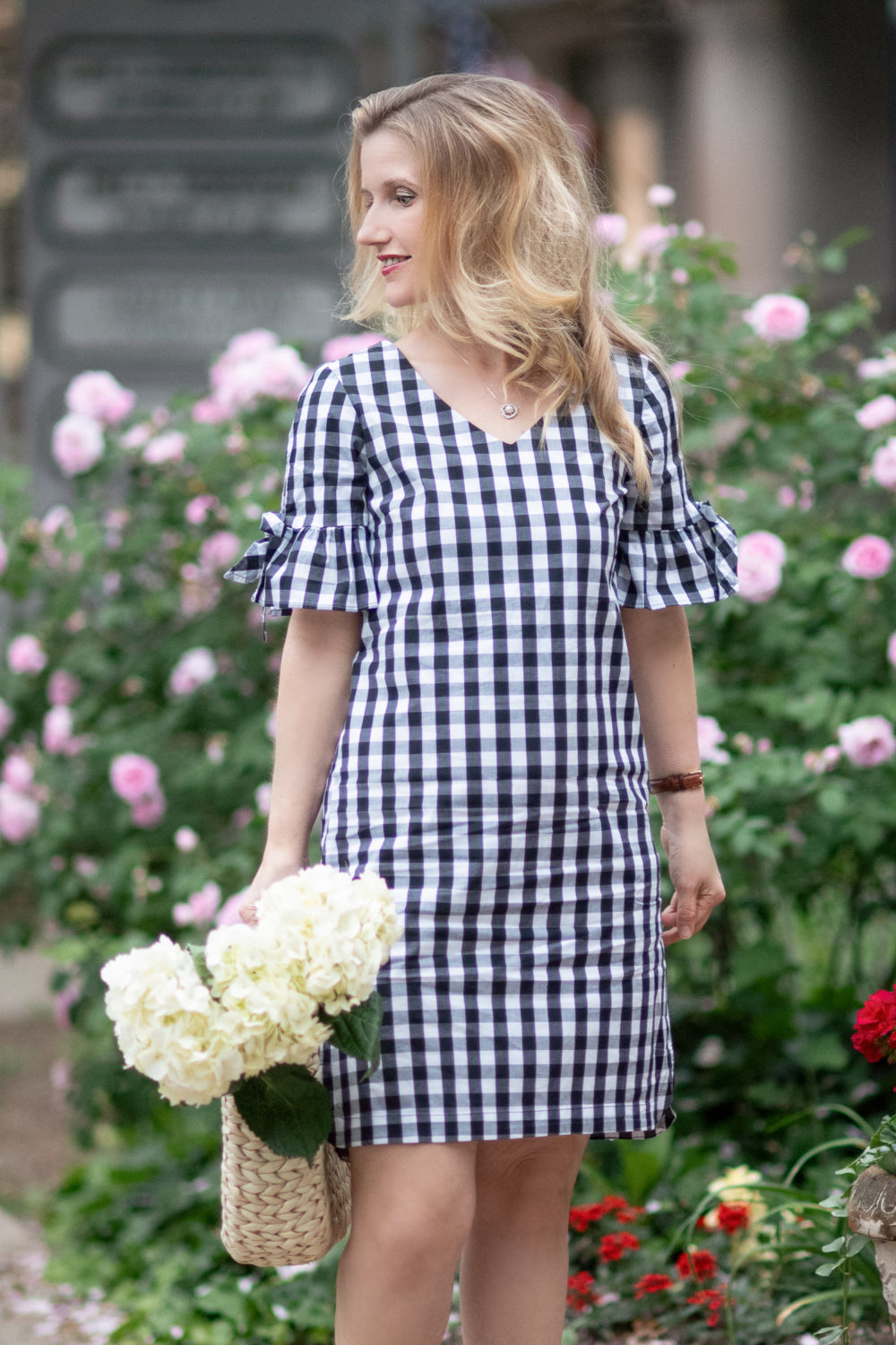 J. Crew Factory Tie Seeve Dress in Gingham