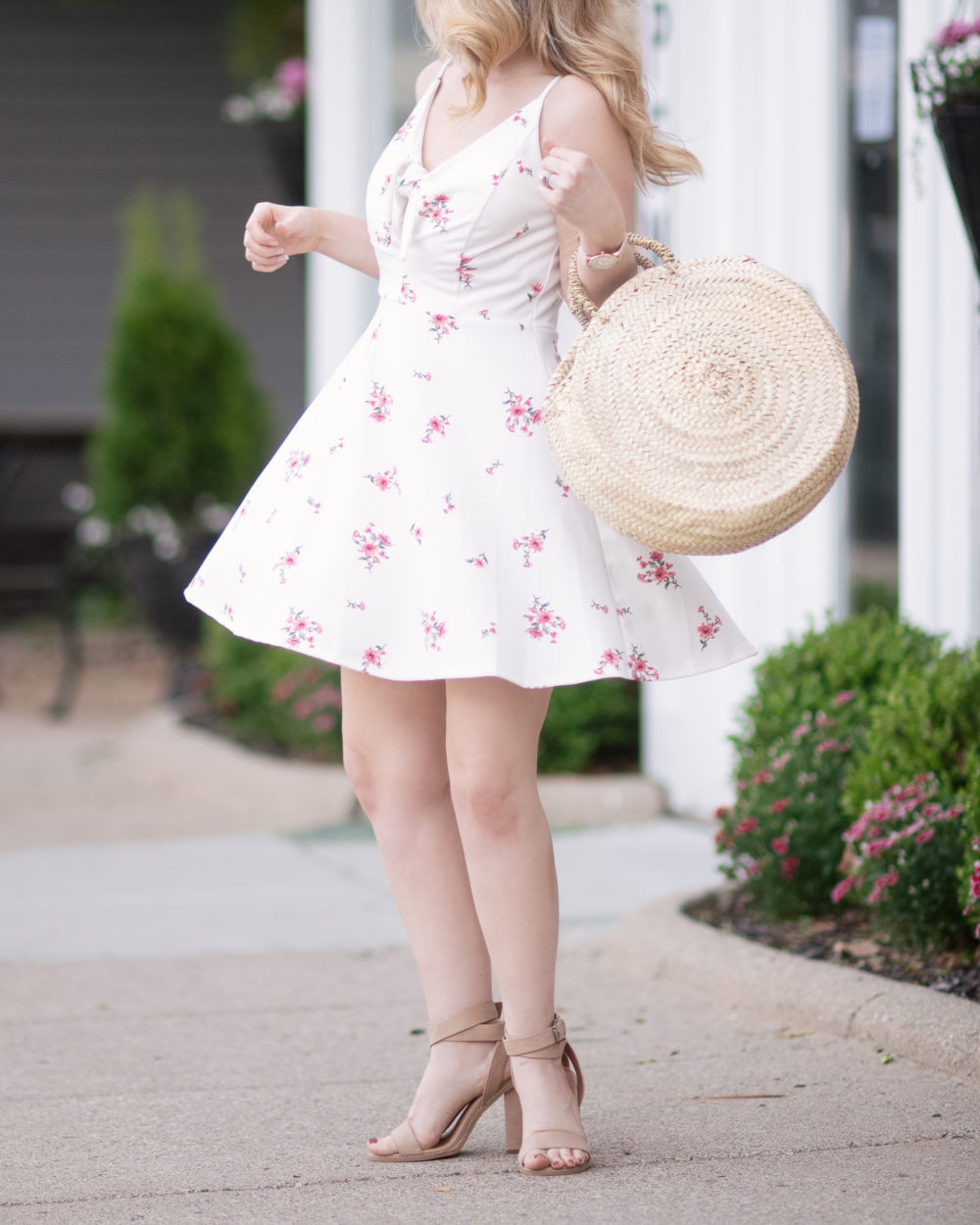 Michigan Petite Fashion and Lifestyle Blog | Xhiliration Floral Print Strappy Fit & Flare Dress