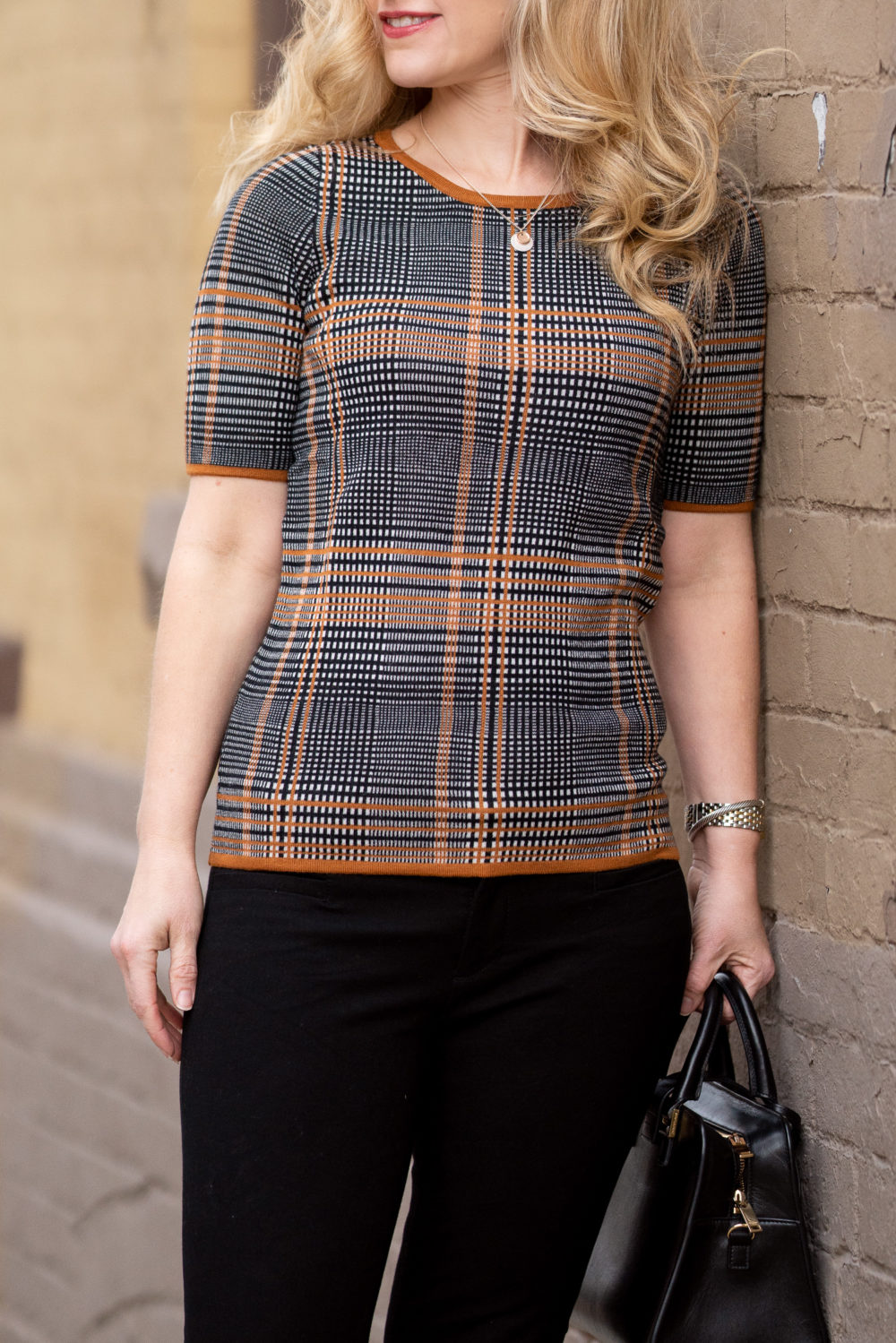 Petite Fashion and Style Blog | Ann Taylor Plaid Short Sleeve Sweater