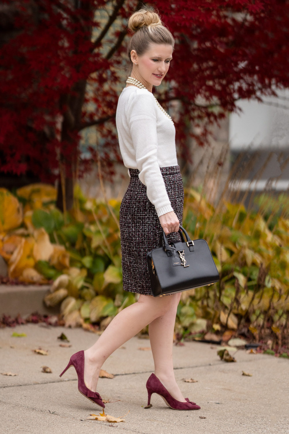 Petite Fashion and Style Blog | Ann Taylor Puffed Shoulder Sweater | Ann Taylor Tweed A-Line Skirt