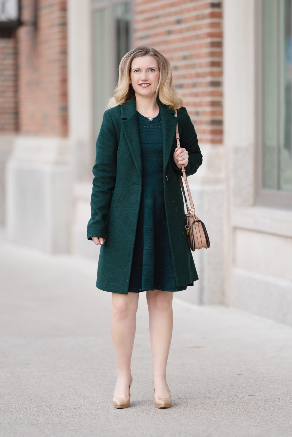 Petite Fashion and Style Blog | Sam Edelman Blazer Coat | Eliza J Sweater Dress