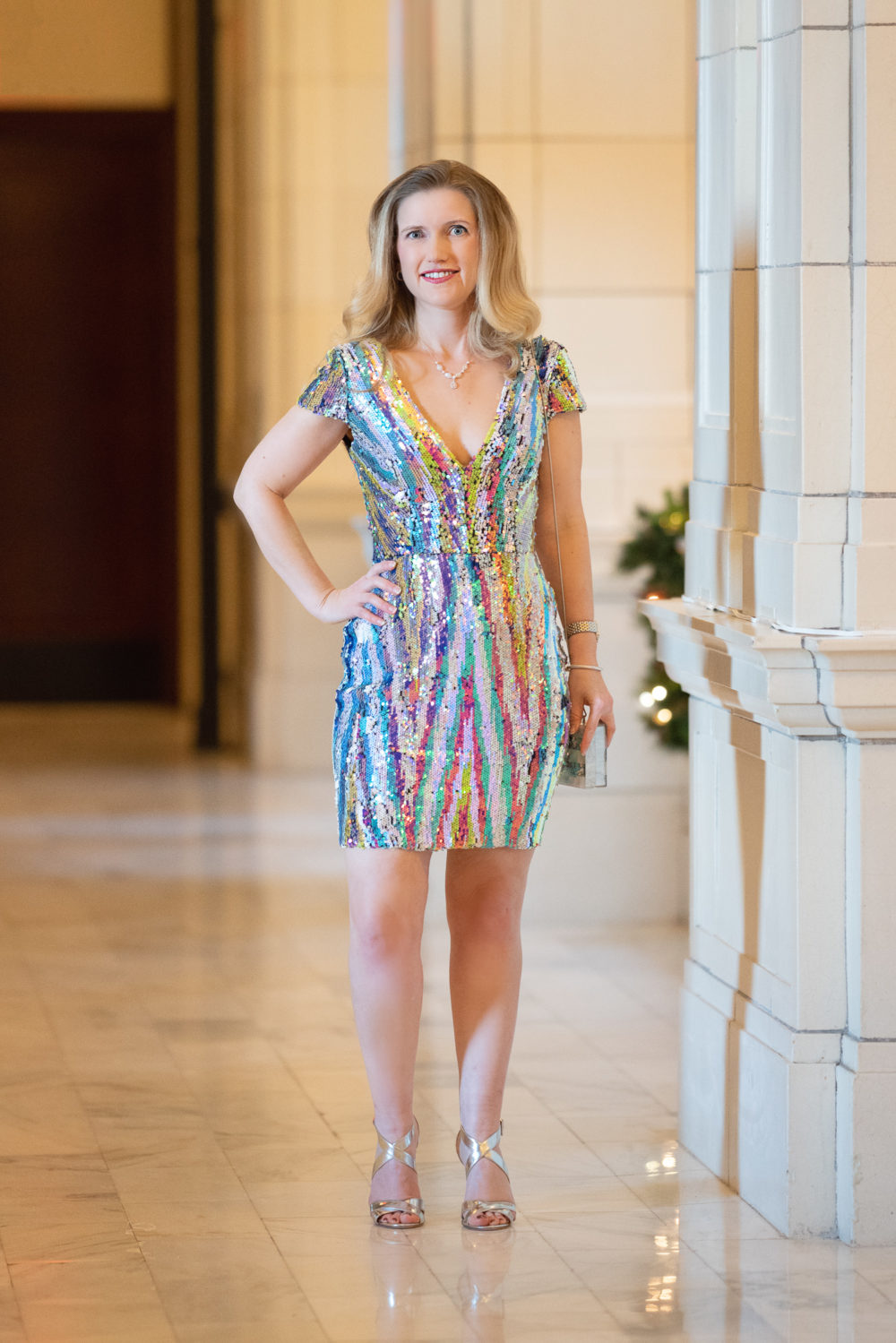 Petite Fashion and Style Blog | Dress the Population Zoe Sequin Bodycon Dres