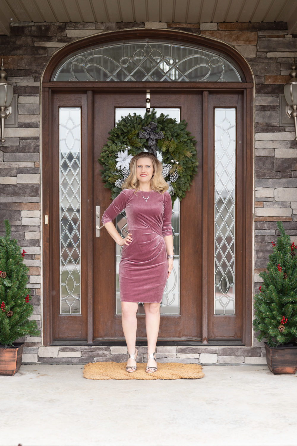 Petite Fashion Blog | Our Home For the Holidays | Eliza J. Velvet Dress | Flocked Christmas Tree | Pottery Barn Plaid Plates | Natural Cedar Garland