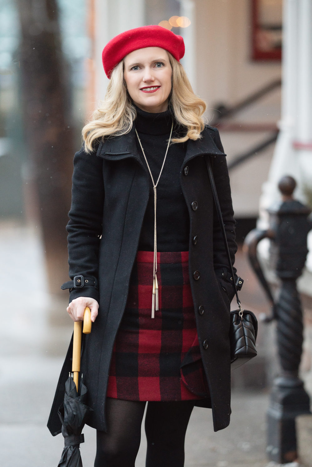 Petite Fashion and Style Blog | Amazon Cashmere Turtleneck | J. Crew Factory Ruffle Front Mini Skirt | Burberry Wool Trench Coat