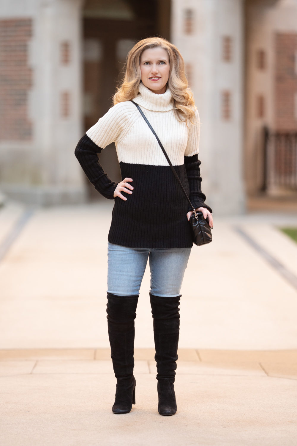 Tape-In Hair Extensions | Petite Fashion and Style Blog | Aqua Colorblock Turtleneck Sweater | Stewart Weitzman Highland | Avissa Salon Ann Arbor Review