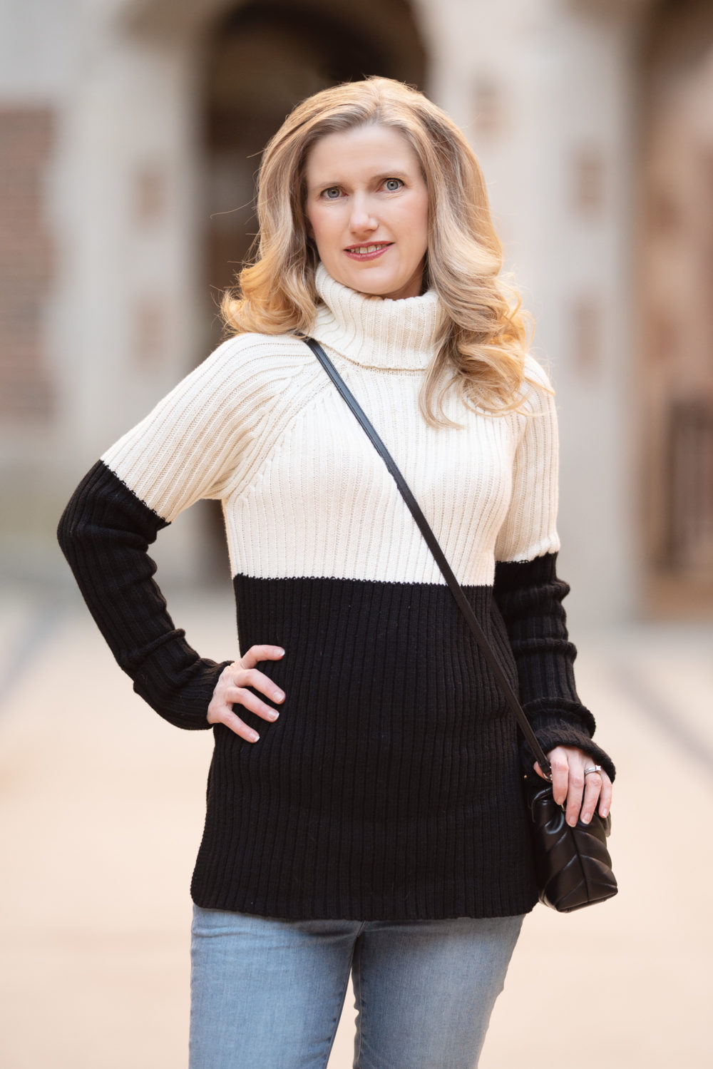 All About Tape-In Hair Extensions | Petite Fashion and Style Blog | Aqua Colorblock Turtleneck Sweater | Stewart Weitzman Highland | Avissa Salon Ann Arbor